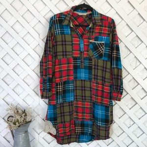 Soft surroundings patchwork flannel nightgown